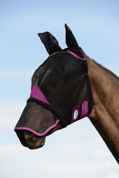 Weatherbeeta Comfitec Durable Mesh Mask with Ear & Nose- Black/Purple