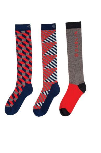 Dublin 3 Pack Socks Navy/Grey