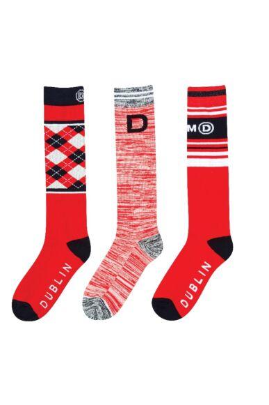 Dublin 3 Pack Socks Racing Red