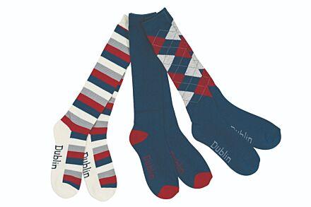 Dublin 3 Pack Socks Navy/Red/White
