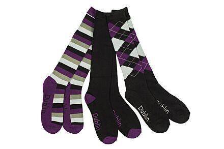 Dublin 3 Pack Socks Black/Purple/Grey