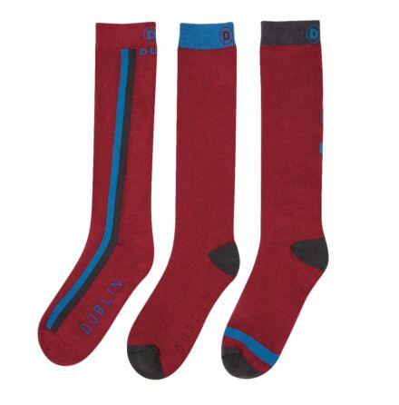 Dublin 3 Pack Sock Deep Crimson Red