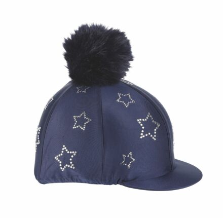 Shires Diamante Star Hat Cover- Navy