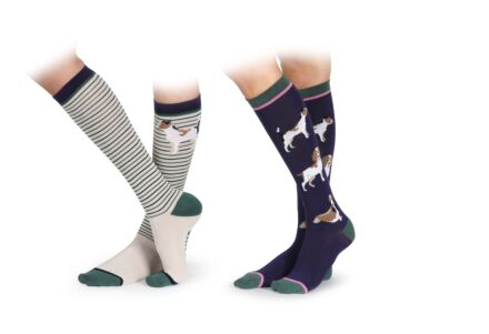Shires Bamboo Junior Socks 2 Pack- Dog
