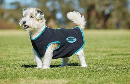 WeatherBeeta Fleece Zip Dog Coat Black and Turquoise