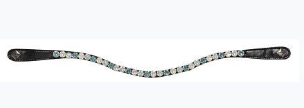 LeMieux Spectrum Diamante Black Leather Browband Ice Blue