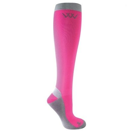 Woof Wear Competition Riding Socks Pink/ Grey
