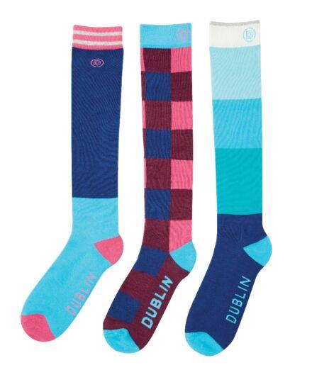 Dublin Country Boot 3 Pack Socks Aqua Blue