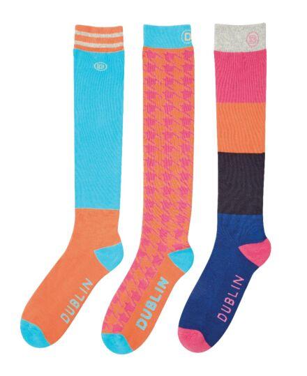 Dublin Country Boot 3 Pack Socks Bright Orange