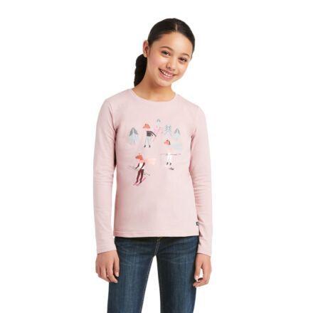 Ariat Youth Powder Ponies Long Sleeve Tee Rose
