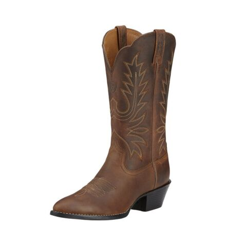 Ariat Heritage Western R Toe Boots Distressed Brown