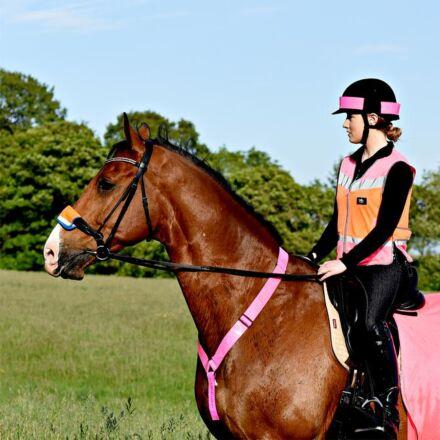 Equisafety Reflective Multi Colour Hi Viz Waistcoat-Pink/Orange