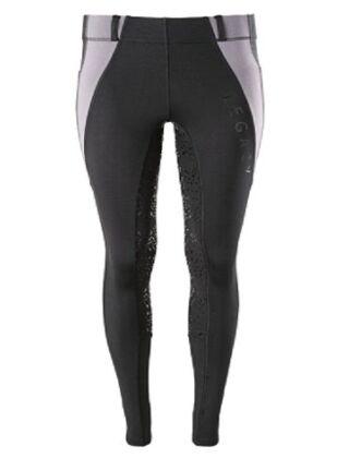 Legacy Winter Full Grip Ladies Riding Tights-Black/Grey