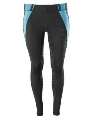 Legacy Winter Full Grip Ladies Riding Tights-Black/Turquoise