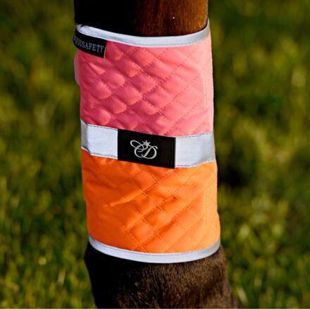 Equisafety Multi Coloured Waterproof Leg Wraps Pink/Orange