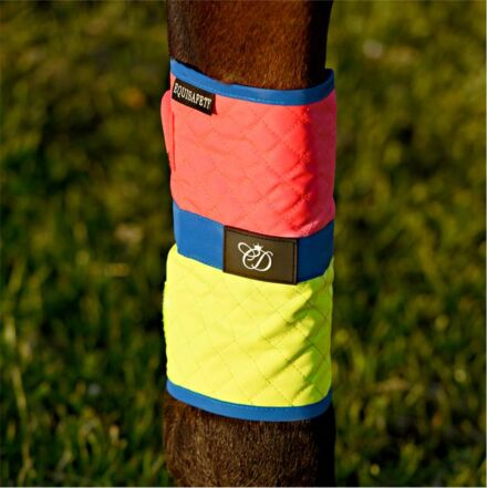 Equisafety Multi Coloured Waterproof Leg Wraps Pink/Yellow