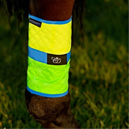 Equisafety Multi Coloured Waterproof Leg Wraps Green/Yellow