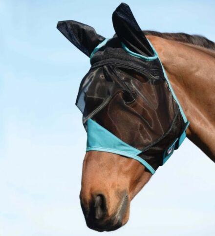 Weatherbeeta Comfitec Fine Mesh Mask with Ears Black/Turquoise