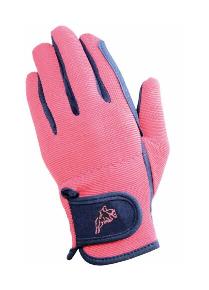 Hy5 Children's Every Day Two Tone Riding Gloves Black/Pink
