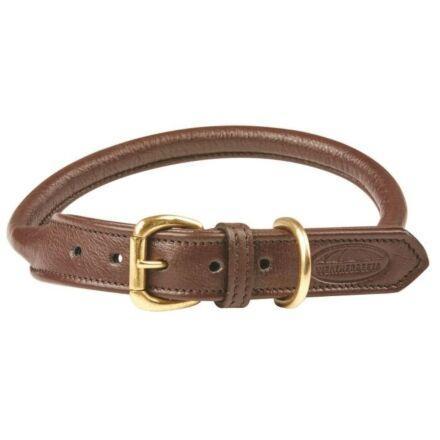 WeatherBeeta Rolled Leather Dog Collar Brown