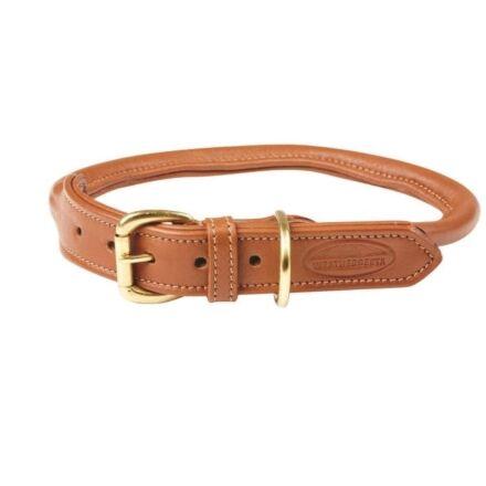 WeatherBeeta Rolled Leather Dog Collar Tan