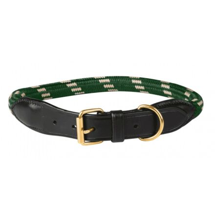 WeatherBeeta Rope Leather Dog Collar Hunter Green