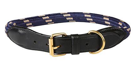 WeatherBeeta Rope Leather Dog Collar Navy