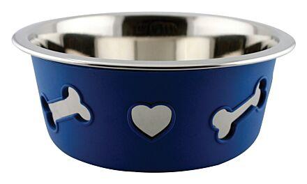 Weatherbeeta Non-Slip Silicone Steel Bone Dog Bowl Blue