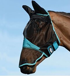 Weatherbeeta Comfitec Fine Mesh Mask with Ears + Nose Black/Turquoise
