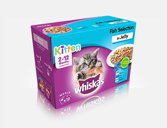 Whiskas 2-12 Months Kitten Fish Selection in Jelly 12 x 100g